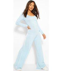 jumpsuit met wijde pijpen, lange mouwen en streep aan de zijkant, stoffig blauw