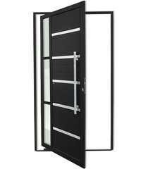 porta pivotante direita com lambri e puxador em alumínio miraggio 210x100cm preta