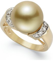 14k gold ring, golden south sea pearl (12mm) and diamond (1/4 ct. t.w.) ring