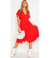 button through flared sleeve midi dress, red