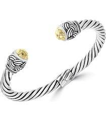 effy women's sterling silver & 18k yellow gold citrine bangle bracelet