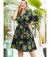 plus size wrap design leaf print v-neck dress