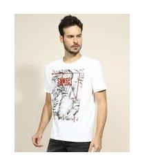 "camiseta masculina folhagens sunset - paradise adventure"" manga curta gola careca branca"""