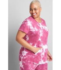 lane bryant women's livi short-sleeve tee - tie-dye 14/16 fuchsia red