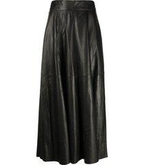 federica tosi full shape leather skirt - black