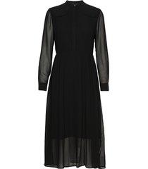 ls button up maxi dress maxi dress galajurk zwart calvin klein