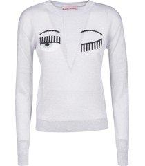 chiara ferragni regular flirting lurex crewneck sweater