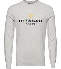 club l/s knitted jumper stickad tröja m. rund krage grå lyle & scott