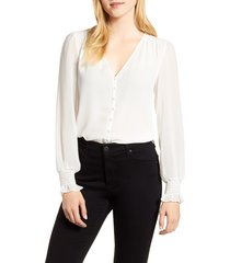 women's 1.state smocked detail button-up blouse