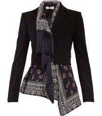 asymmetric draped & tassel blazer