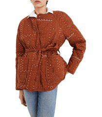 women's madewell quilted bandana jacket, size x-large - brown