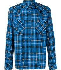 diesel check flannel western shirt - blue