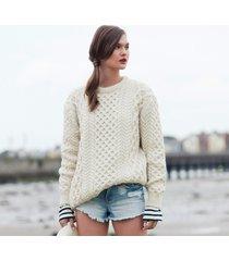 women's honeycomb blasket irish aran sweater natural medium