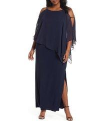 plus size women's xscape chiffon overlay split sleeve gown