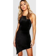 petite velvet high neck asymmetric bodycon dress, black