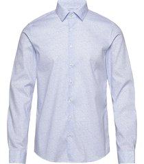 printed stretch slim shirt overhemd business blauw calvin klein