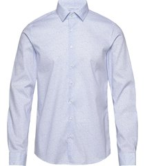 printed stretch slim shirt overhemd business blauw calvin klein