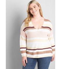 lane bryant women's striped 3/4-sleeve pullover 18/20 brazilian sand