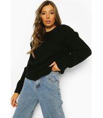 trui met mouw franjes, black