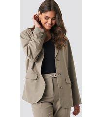 na-kd classic shiny button blazer - brown