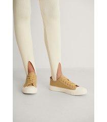 na-kd shoes låga träningsskor med snören - yellow