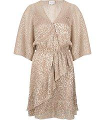 jurk met luipaardprint sadee  beige