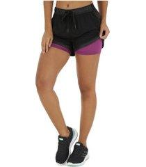 shorts oxer elástico color - feminino - preto/roxo