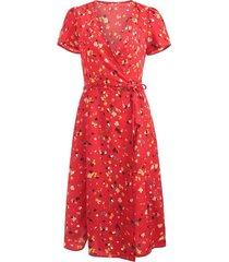 zaful vestido a media pierna con estampado floral-rojo