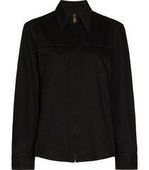 lemaire zip-up denim pocket shirt - black