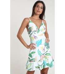 vestido feminino curto canelado estampado floral com babado alça fina off white