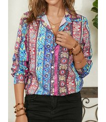 camicetta casual da donna a maniche lunghe con bottoni stampati etnici bohémien
