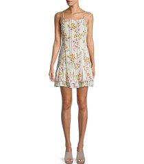 lost + wander women's floral-print mini dress - ivory stripe - size m
