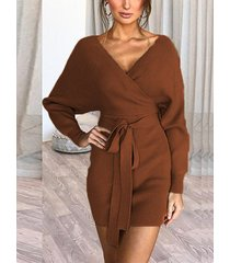 marrón sin respaldo diseño deep v cuello manga larga vestido