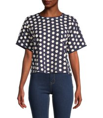 madewell women's katie textured top - blue - size l