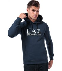 emporio armani ea7 mens visibility logo hooded sweatshirt size m in blue