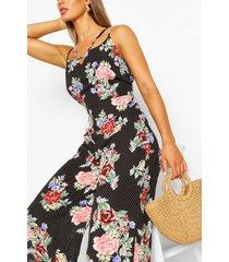 bloemenprint broekrok jumpsuit met stippen en bandjes, zwart