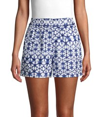 pure navy women's printed linen shorts - patchwork - size s