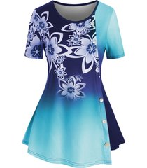 ombre floral buttons plus size tunic top