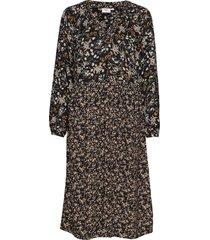 u6015, dress calf woven jurk knielengte zwart saint tropez