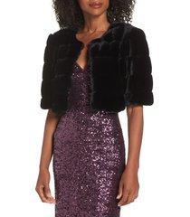 women's eliza j faux fur crop jacket, size x-small - black