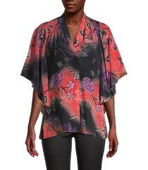 kobi halperin women's evin floral silk blouse - black multi - size xs