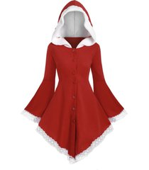 faux shearling hooded bell sleeve plus size christmas coat