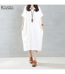 zanzea mujeres elegantes del vestido largo del o-cuello de manga larga bolsillos sólidos ocasionales flojas de la vendimia larga vestidos tamaño más 5xl blanco -blanco