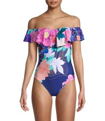 trina turk women's opulent floral one-piece swimsuit - purple multicolor - size 2