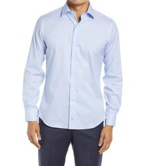 david donahue trim fit dress shirt, size 18 in white/blue at nordstrom