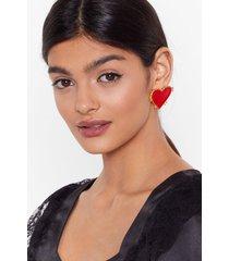 womens big heart oversized earrings - red