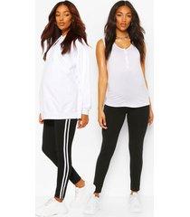 zwangerschap gestreepte en jersey leggings (2 stuks), black