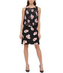 tommy hilfiger rose jersey-chiffon dress