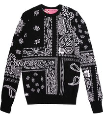 mc2 saint barth woman sweater blended cashmere black bandana pattern
