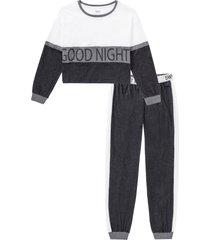 pigiama con maglia a maniche lunghe corta (grigio) - bpc bonprix collection